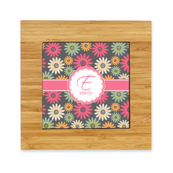 Daisies Bamboo Trivet with Ceramic Tile Insert (Personalized)