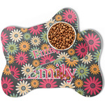 Daisies Bone Shaped Dog Food Mat (Personalized)