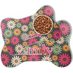 Daisies Bone Shaped Dog Food Mat (Personalized)