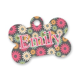 Daisies Bone Shaped Dog Tag (Personalized)
