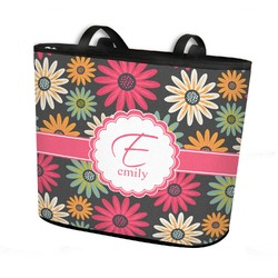 Daisies Bucket Tote w/ Genuine Leather Trim (Personalized)