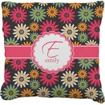 Daisies Burlap Throw Pillow (Personalized)