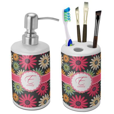 Daisies Ceramic Bathroom Accessories Set (Personalized)