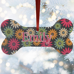 Daisies Ceramic Dog Ornaments w/ Name and Initial