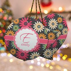 Daisies Ceramic Ornament w/ Name and Initial