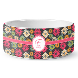 Daisies Ceramic Pet Bowl (Personalized)