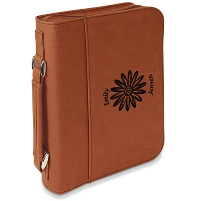 Daisies Leatherette Book / Bible Cover with Handle & Zipper (Personalized)