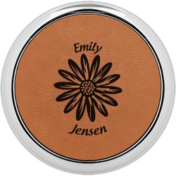 Daisies Leatherette Round Coaster w/ Silver Edge - Single or Set (Personalized)