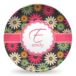 Daisies Microwave Safe Plastic Plate - Composite Polymer (Personalized)