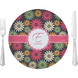 "Daisies Glass Lunch / Dinner Plates 10"" - Single or Set (Personalized)"