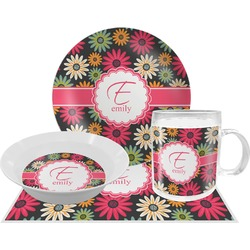 Daisies Dinner Set - Single 4 Pc Setting w/ Name and Initial