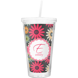 Daisies Double Wall Tumbler with Straw (Personalized)
