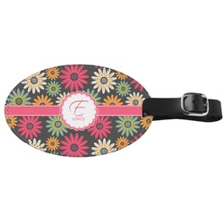 Daisies Genuine Leather Oval Luggage Tag (Personalized)