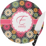 Daisies Round Glass Cutting Board (Personalized)