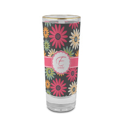 Daisies 2 oz Shot Glass - Glass with Gold Rim (Personalized)