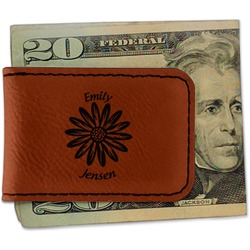 Daisies Leatherette Magnetic Money Clip (Personalized)
