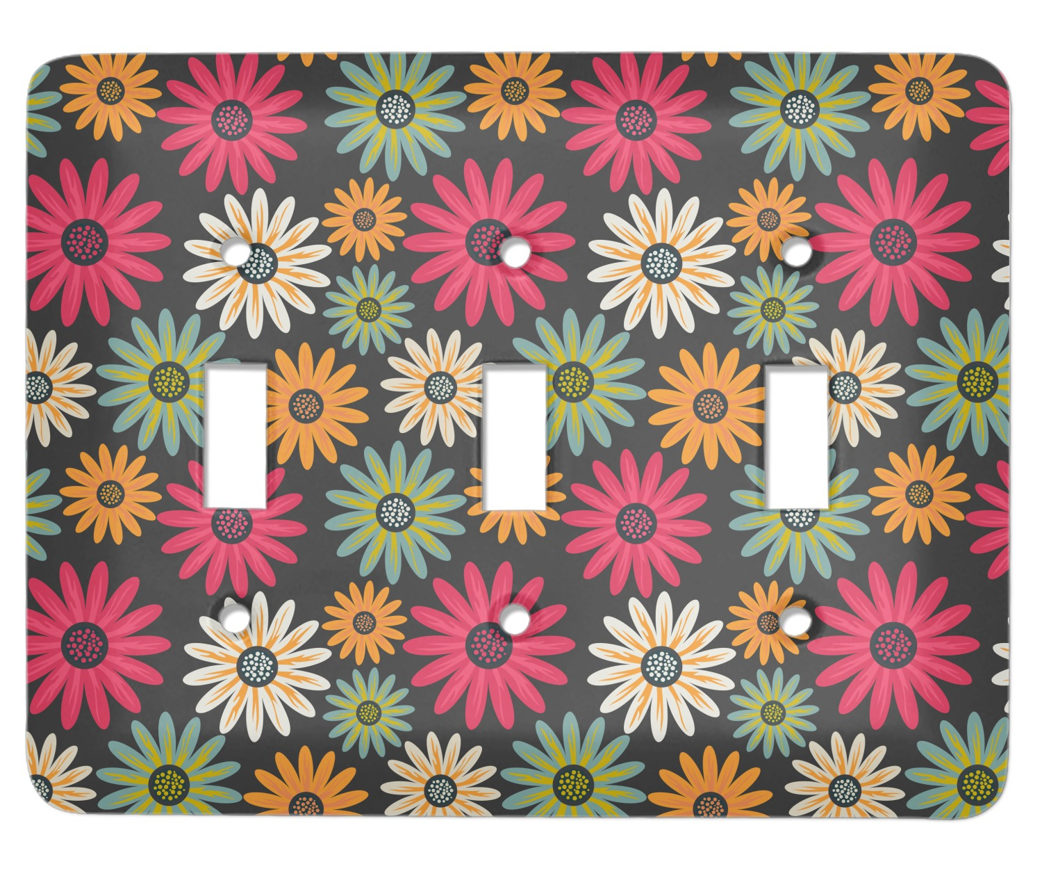 Daisies Light Switch Cover 3 Toggle Plate Personalized