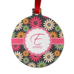 Daisies Metal Ornaments - Double Sided w/ Name and Initial