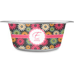 Daisies Stainless Steel Dog Bowl (Personalized)