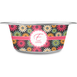 Daisies Stainless Steel Pet Bowl (Personalized)