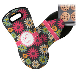 Daisies Neoprene Oven Mitts w/ Name and Initial