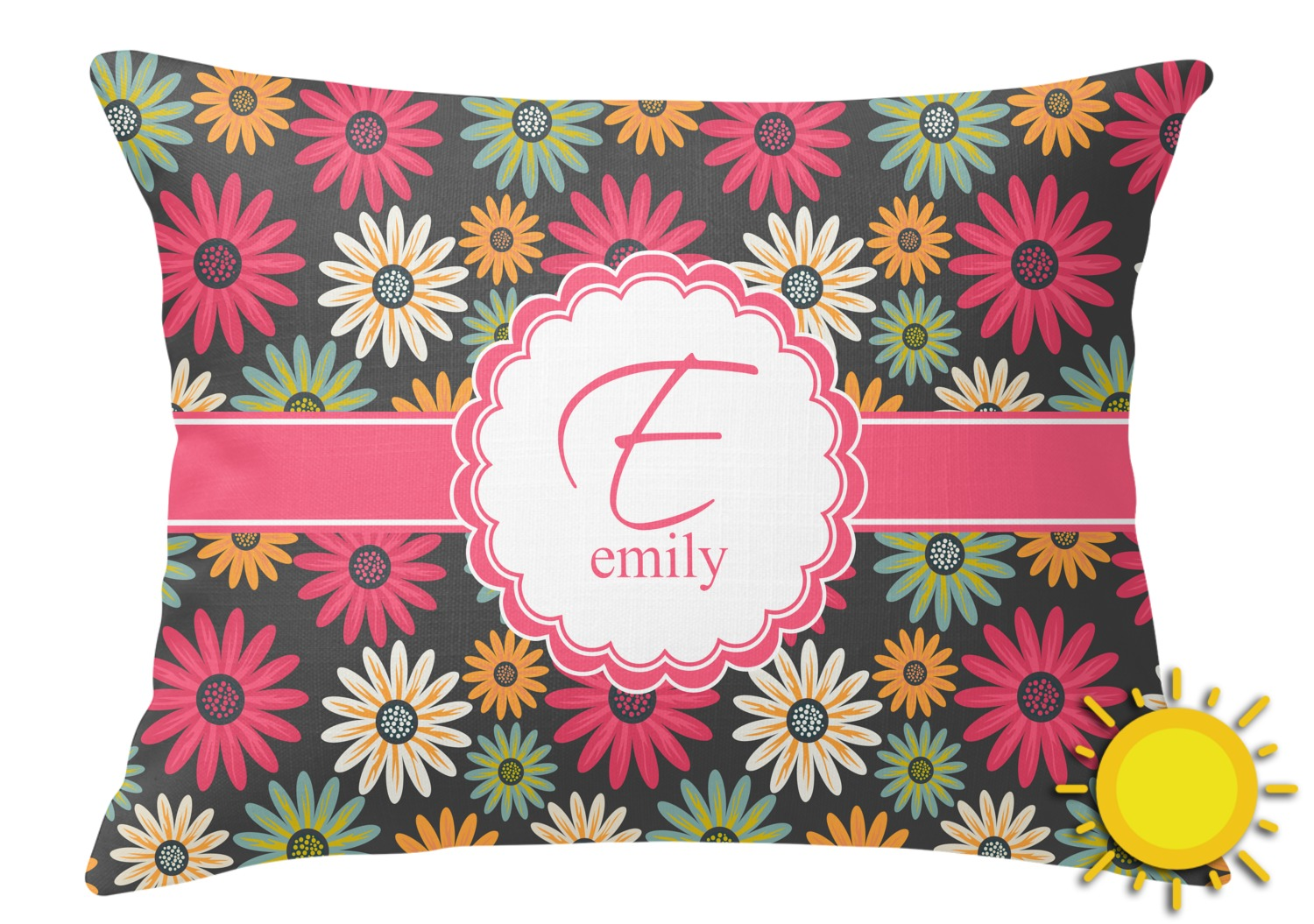 Daisies Outdoor Throw Pillow (Rectangular) (Personalized) - YouCustomizeIt