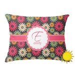 Daisies Outdoor Throw Pillow (Rectangular) (Personalized)