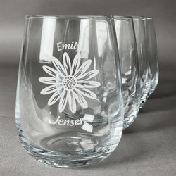 Daisies Wine Glasses (Stemless- Set of 4) (Personalized)