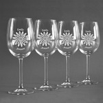 Daisies Wine Glasses (Set of 4) (Personalized)