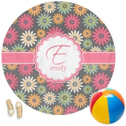 Daisies Round Beach Towel (Personalized)