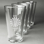 Daisies Beer Glasses (Set of 4) (Personalized)