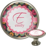 Daisies Cabinet Knob (Silver) (Personalized)