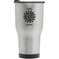 Daisies RTIC Tumbler - Silver - Engraved Front (Personalized)