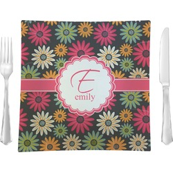 """Daisies 9.5"""" Glass Square Lunch / Dinner Plate- Single or Set of 4 (Personalized)"""