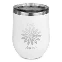 Daisies Stemless Wine Tumbler - 5 Color Choices - Stainless Steel  (Personalized)