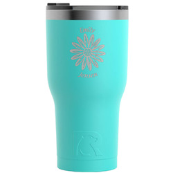 Daisies RTIC Tumbler - Teal - Engraved Front (Personalized)
