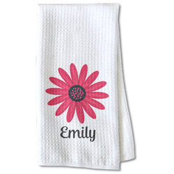 Daisies Waffle Weave Kitchen Towel - Partial Print (Personalized)