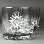 Daisies Whiskey Glasses (Set of 4) (Personalized)