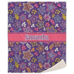 Simple Floral Sherpa Throw Blanket (Personalized)