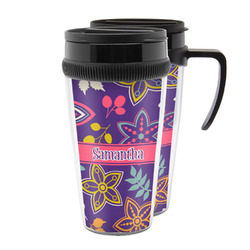 Simple Floral Acrylic Travel Mugs (Personalized)