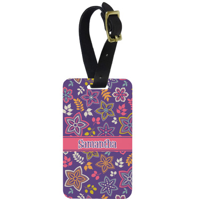Simple Floral Metal Luggage Tag w/ Name or Text