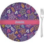 "Simple Floral 8"" Glass Appetizer / Dessert Plates - Single or Set (Personalized)"