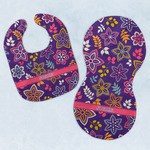 Simple Floral Baby Bib & Burp Set w/ Name or Text