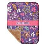 """Simple Floral Sherpa Baby Blanket 30"""" x 40"""" (Personalized)"""