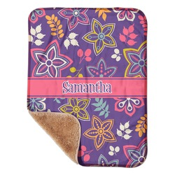 "Simple Floral Sherpa Baby Blanket 30"" x 40"" (Personalized)"
