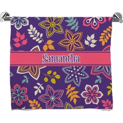 Simple Floral Full Print Bath Towel (Personalized)
