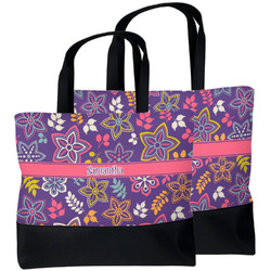 Simple Floral Beach Tote Bag (Personalized)