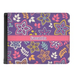 Simple Floral Genuine Leather Men's Bi-fold Wallet (Personalized)