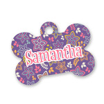 Simple Floral Bone Shaped Dog Tag (Personalized)