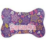 Simple Floral Bone Shaped Dog Food Mat (Personalized)